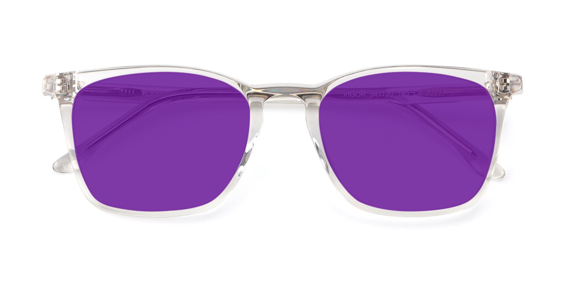 Folded Front of Vigor in Clear with Purple Tinted Lenses