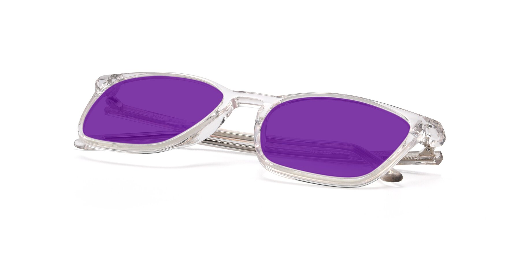 View of Vigor in Clear with Purple Tinted Lenses