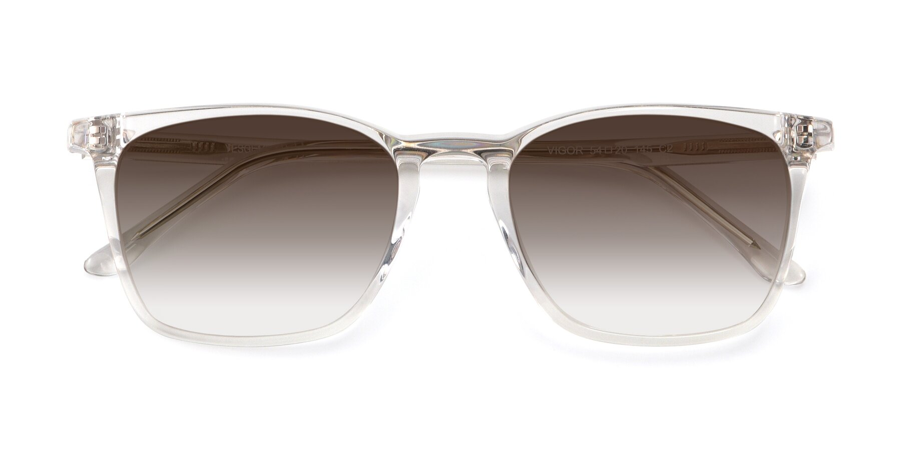 Folded Front of Vigor in Clear with Brown Gradient Lenses