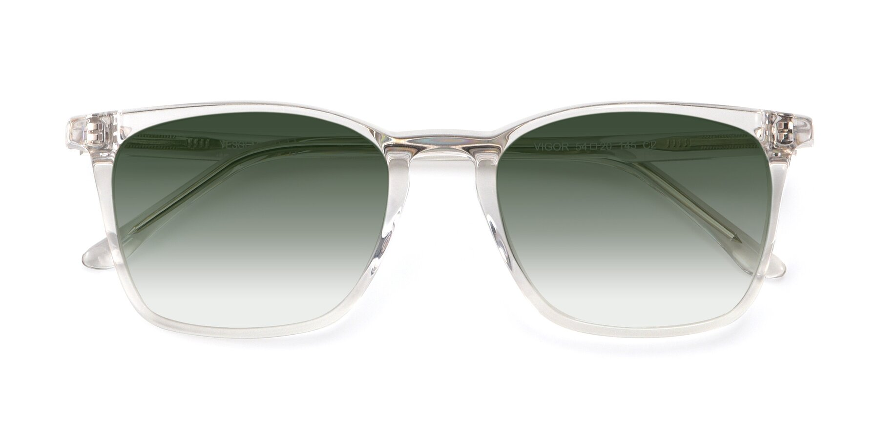 Folded Front of Vigor in Clear with Green Gradient Lenses