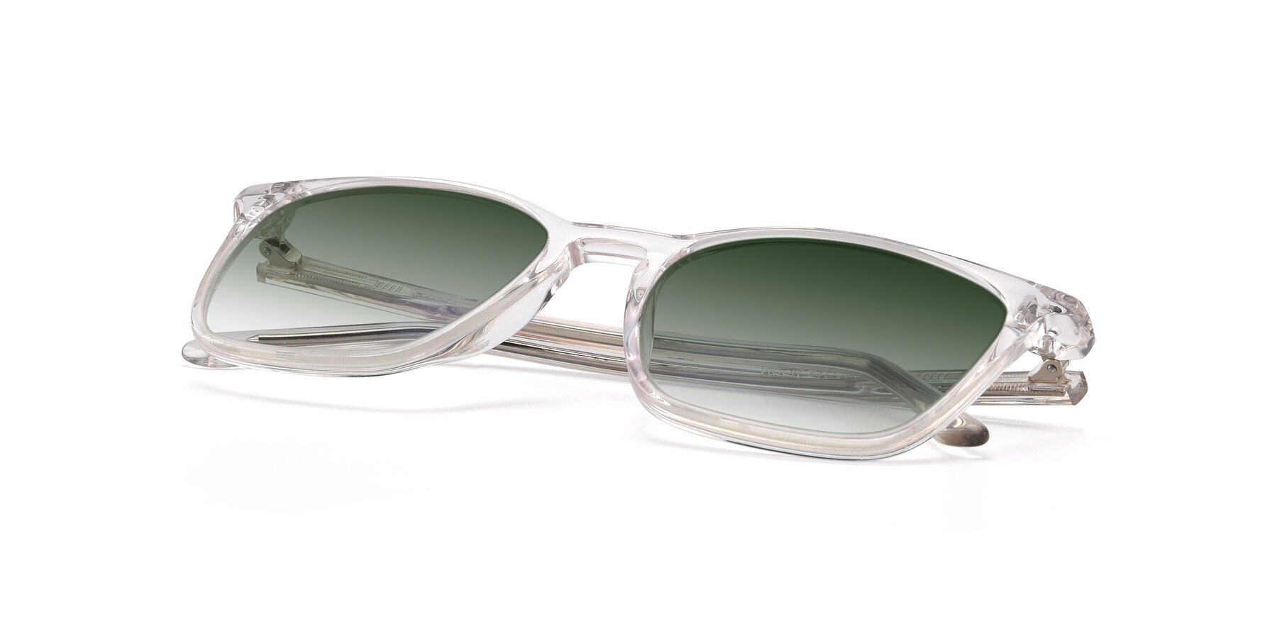View of Vigor in Clear with Green Gradient Lenses
