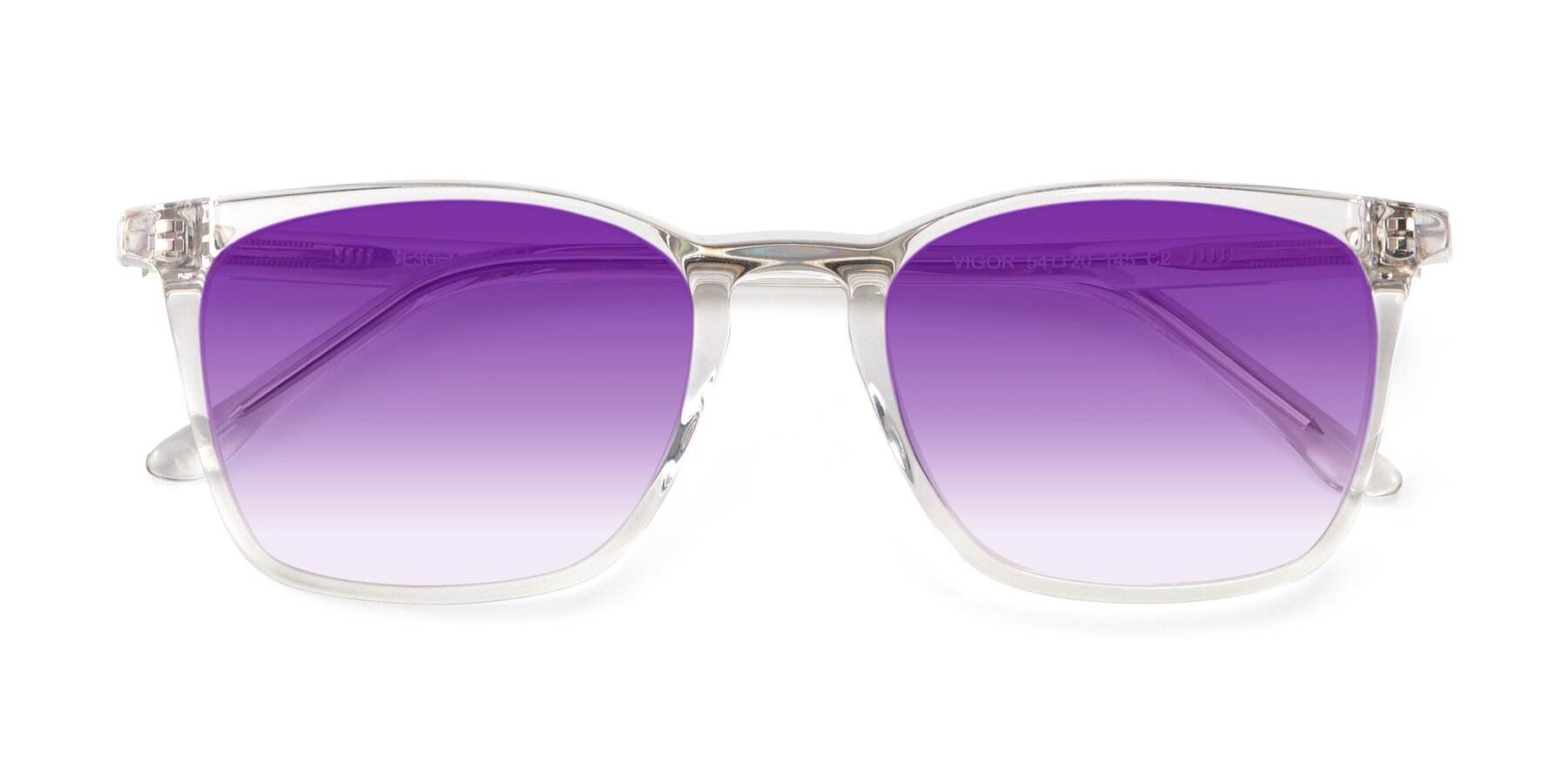 Folded Front of Vigor in Clear with Purple Gradient Lenses