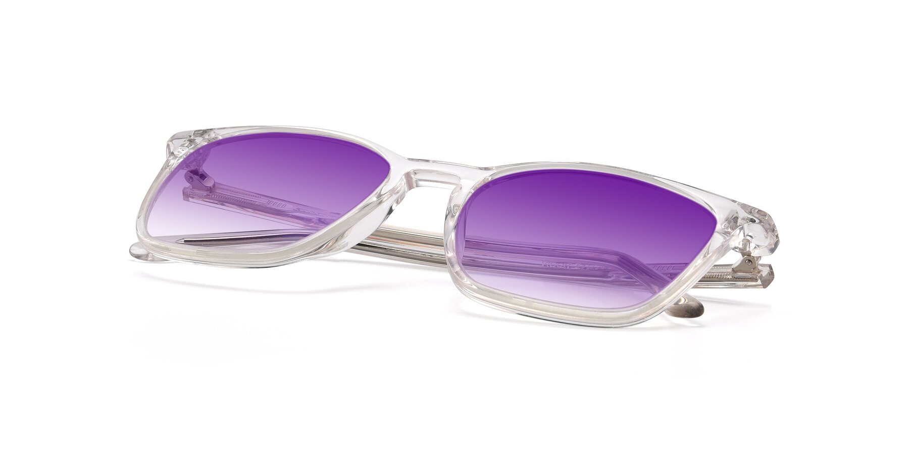 View of Vigor in Clear with Purple Gradient Lenses