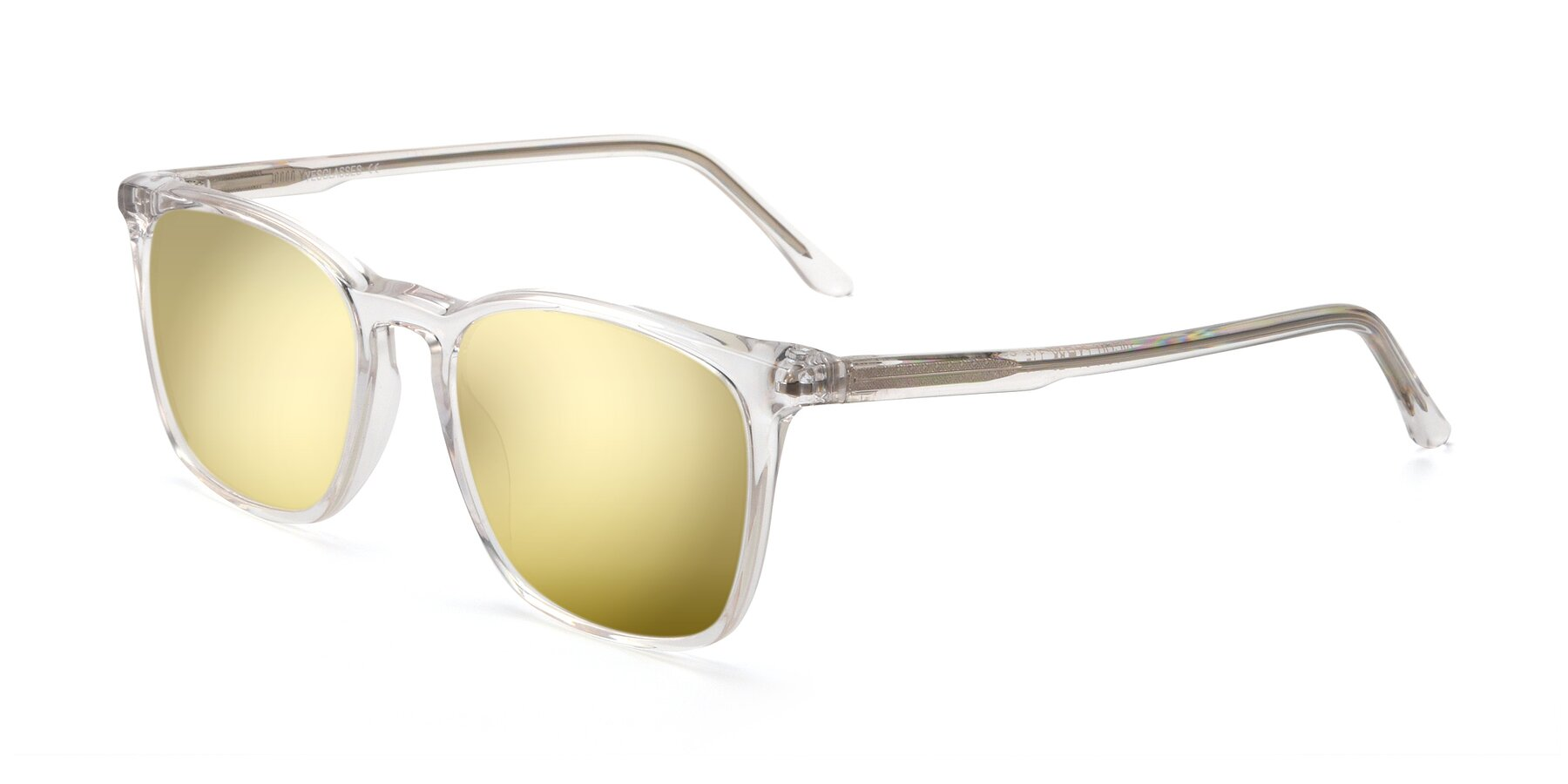 Angle of Vigor in Clear with Gold Mirrored Lenses