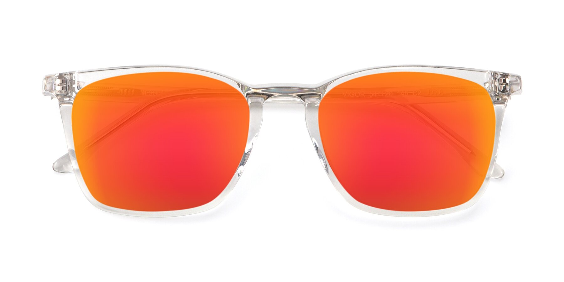 Folded Front of Vigor in Clear with Red Gold Mirrored Lenses