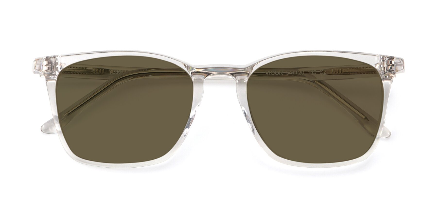 Folded Front of Vigor in Clear with Brown Polarized Lenses