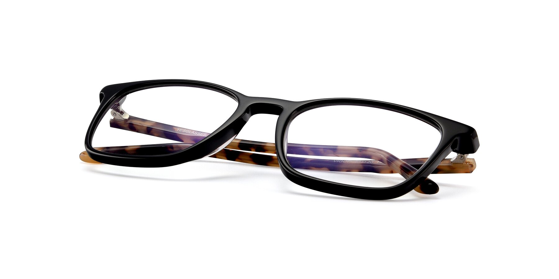 View of Vigor in Black-Tortoise with Clear Blue Light Blocking Lenses