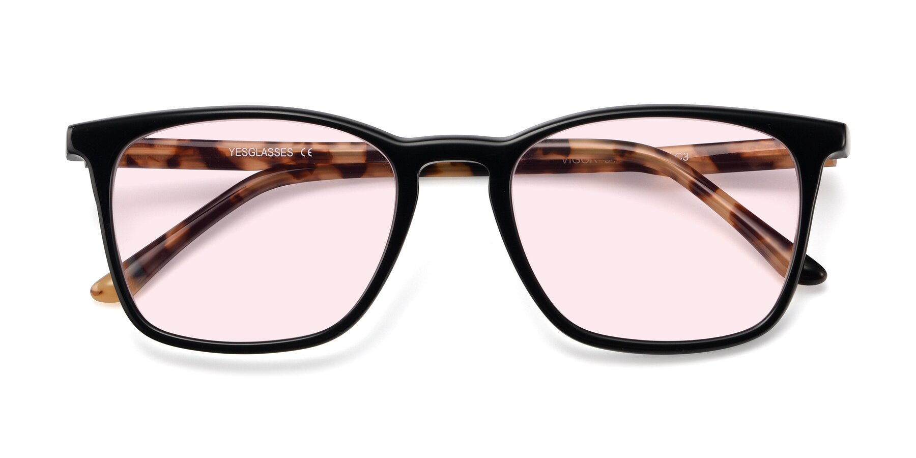 Folded Front of Vigor in Black-Tortoise with Light Pink Tinted Lenses