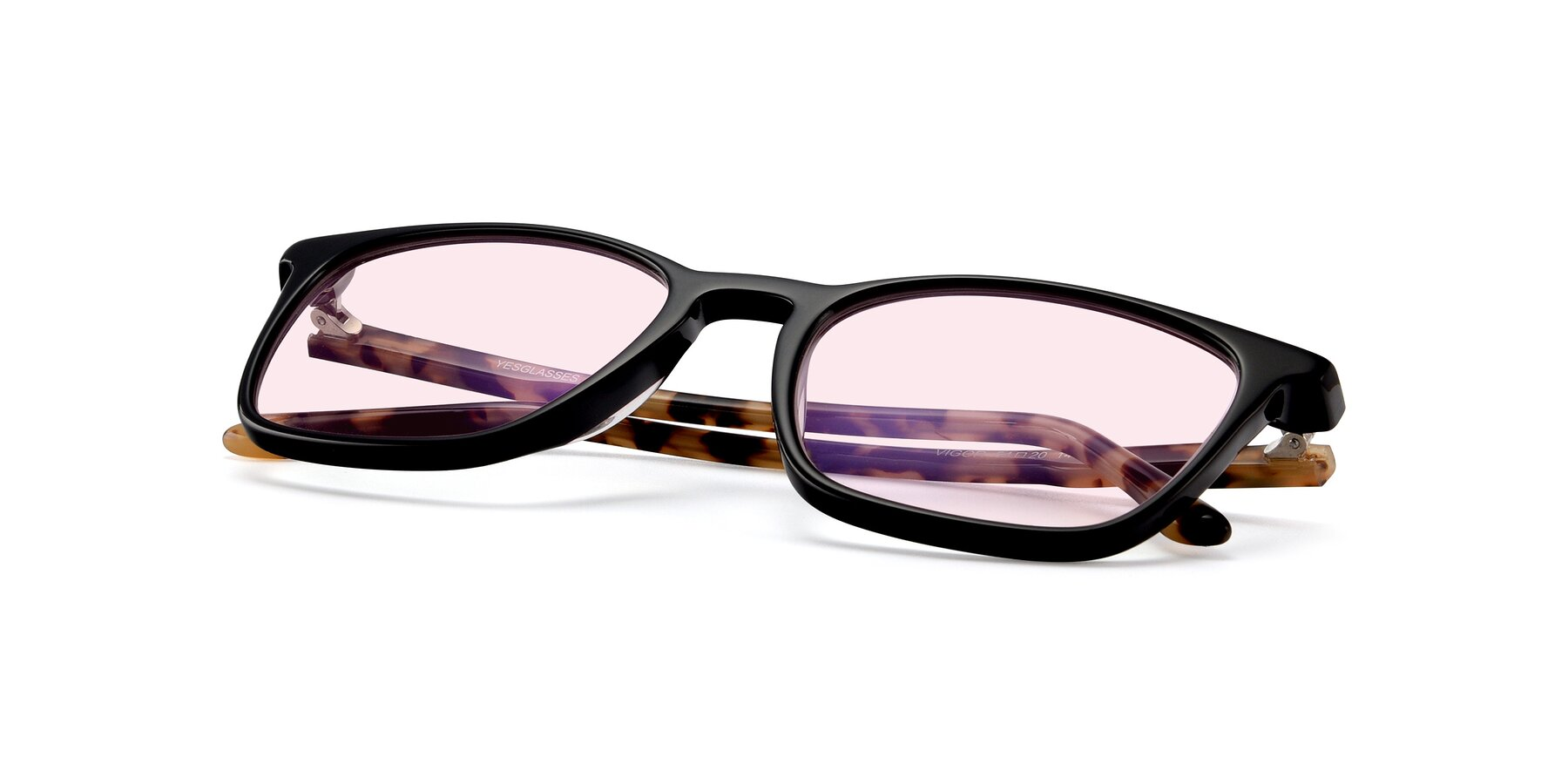 View of Vigor in Black-Tortoise with Light Pink Tinted Lenses