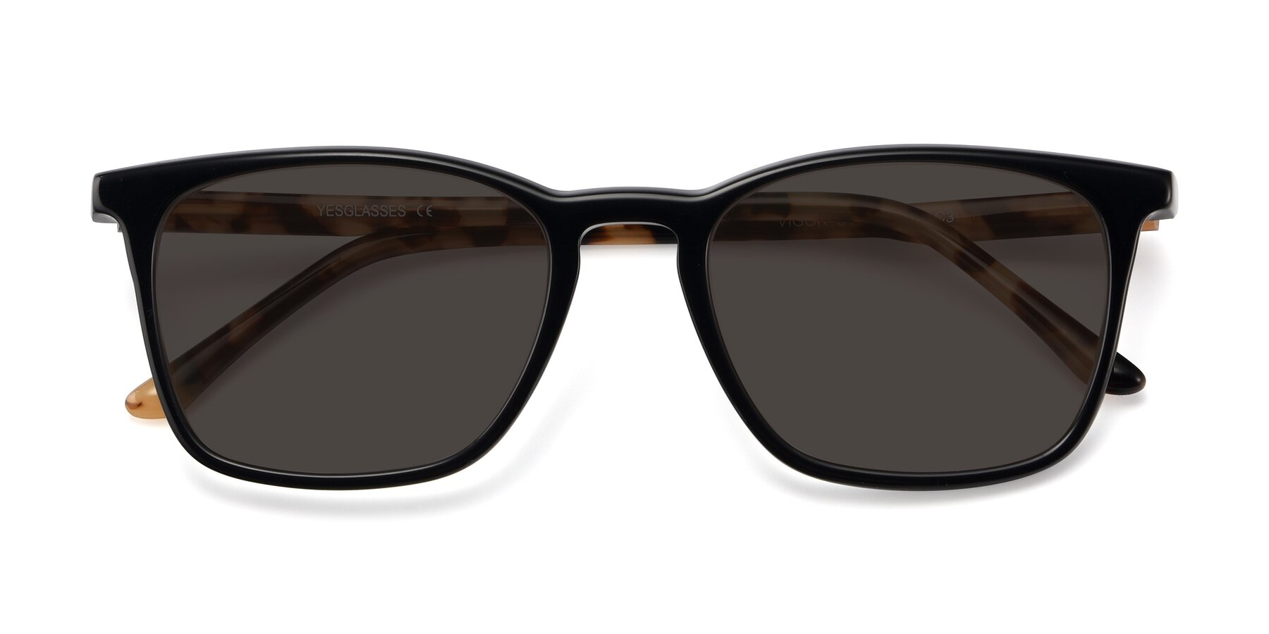 Folded Front of Vigor in Black-Tortoise with Gray Tinted Lenses