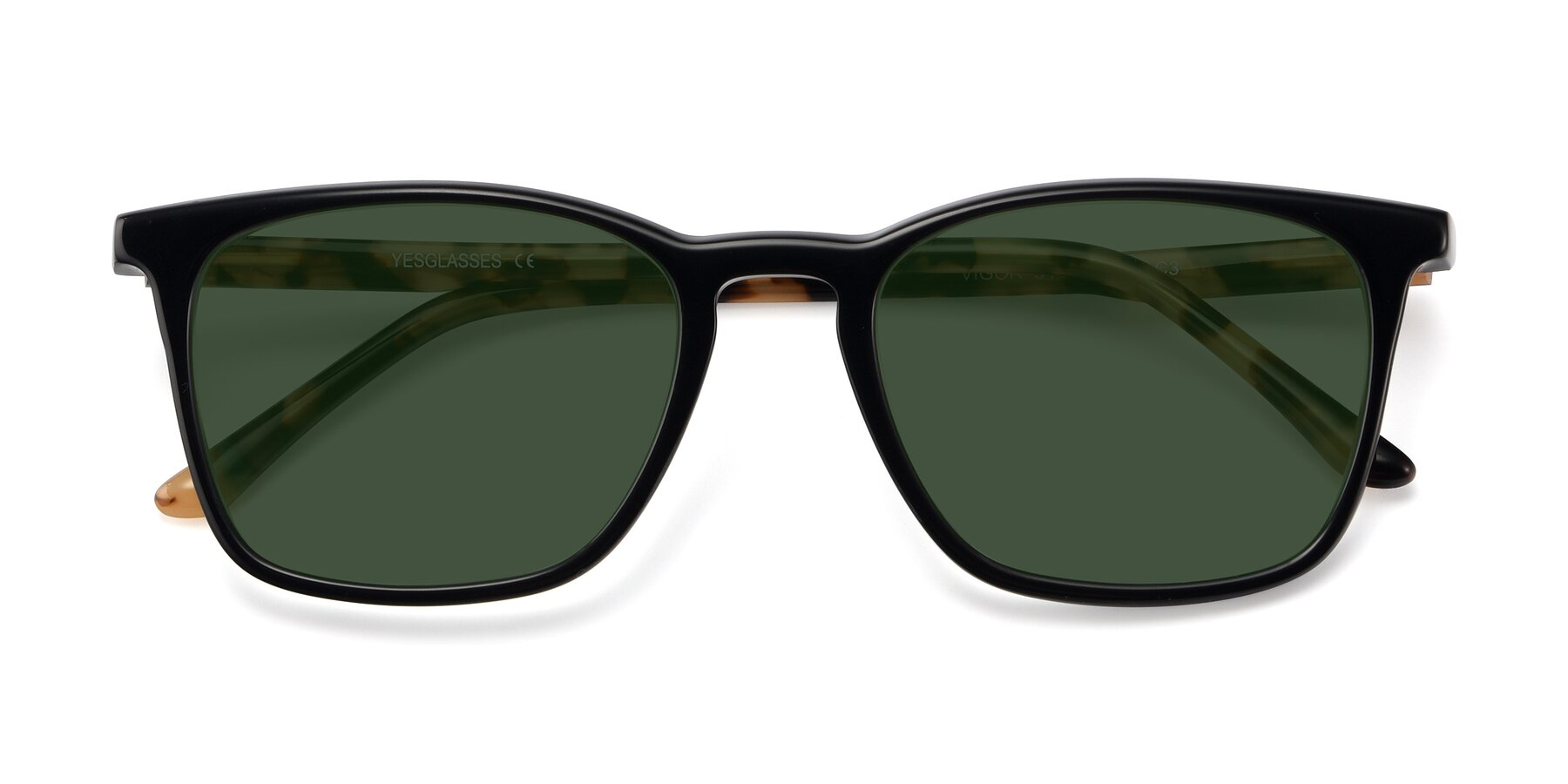 Folded Front of Vigor in Black-Tortoise with Green Tinted Lenses
