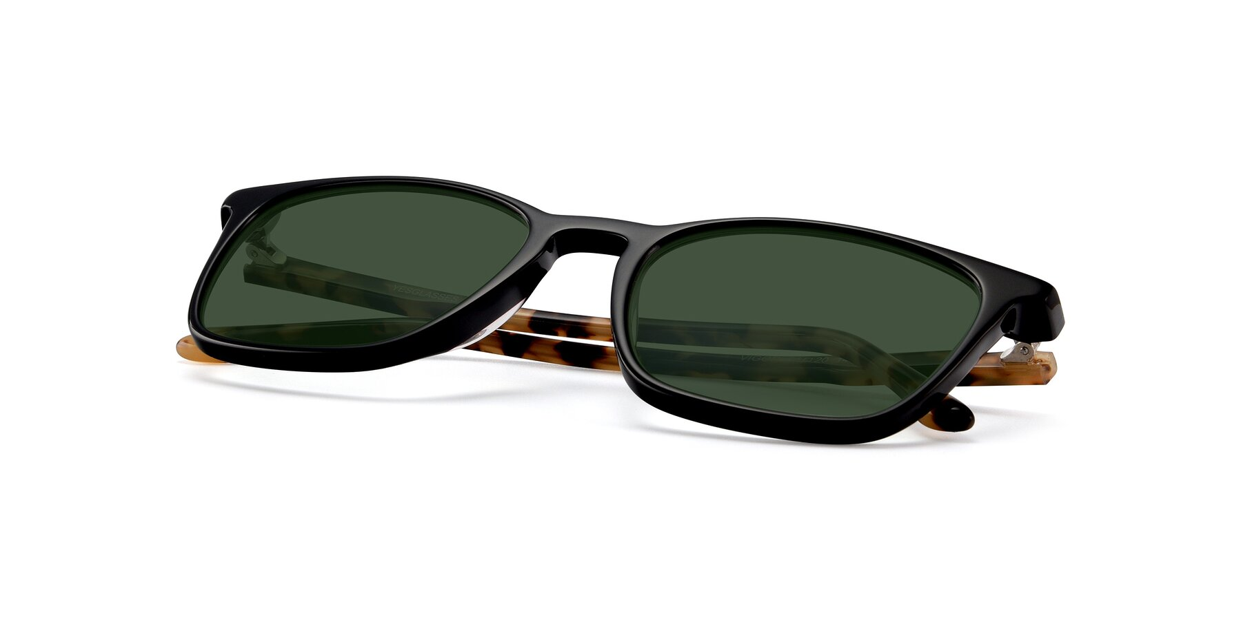 View of Vigor in Black-Tortoise with Green Tinted Lenses