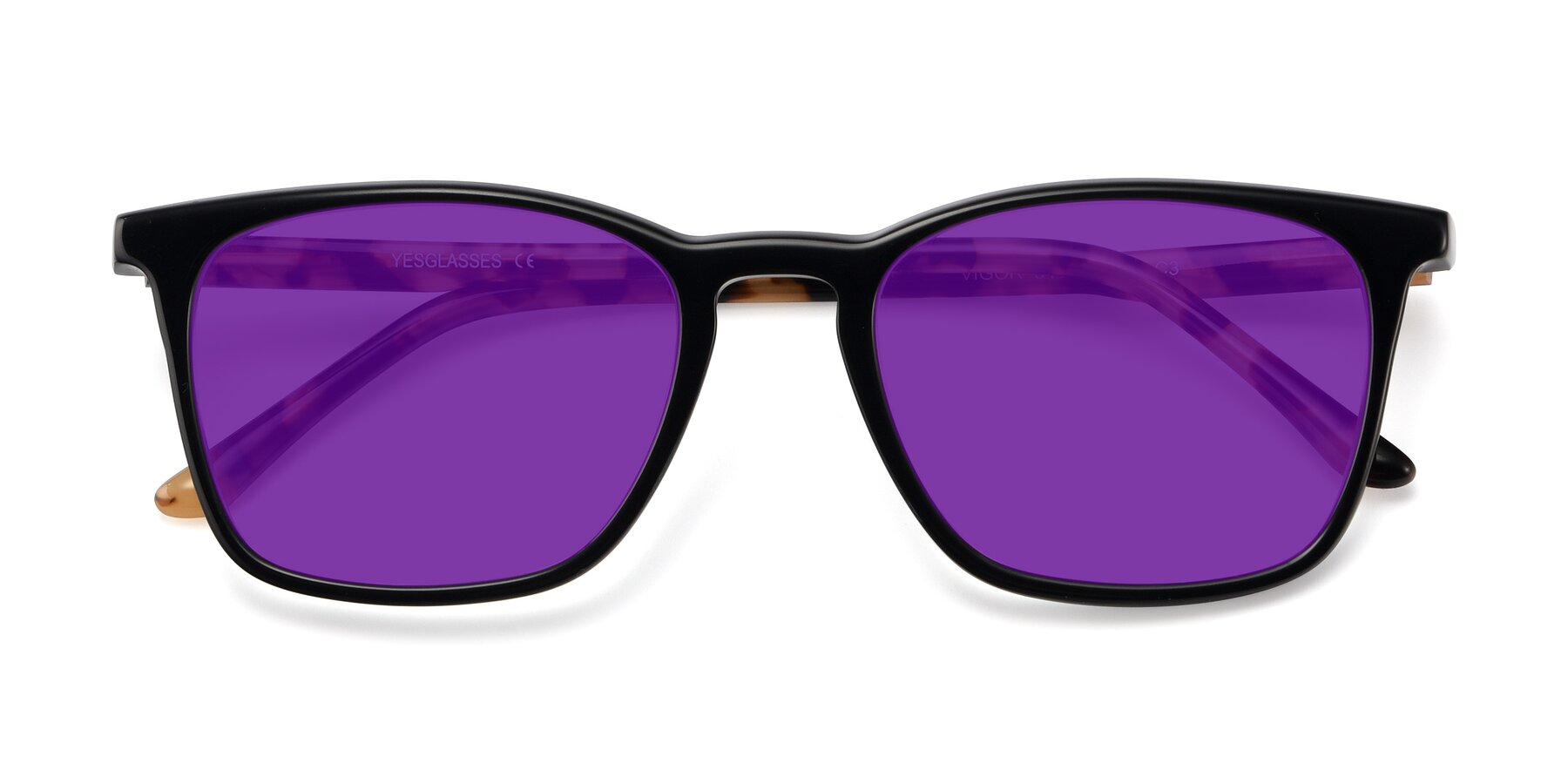 Folded Front of Vigor in Black-Tortoise with Purple Tinted Lenses