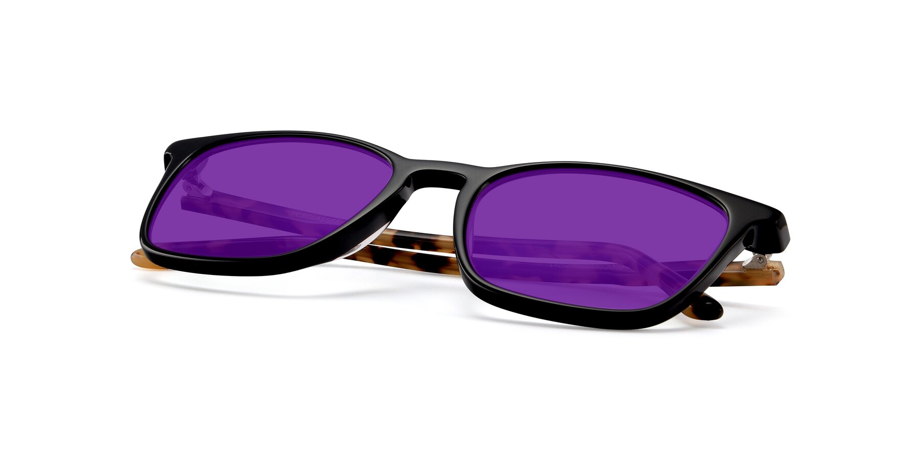 View of Vigor in Black-Tortoise with Purple Tinted Lenses