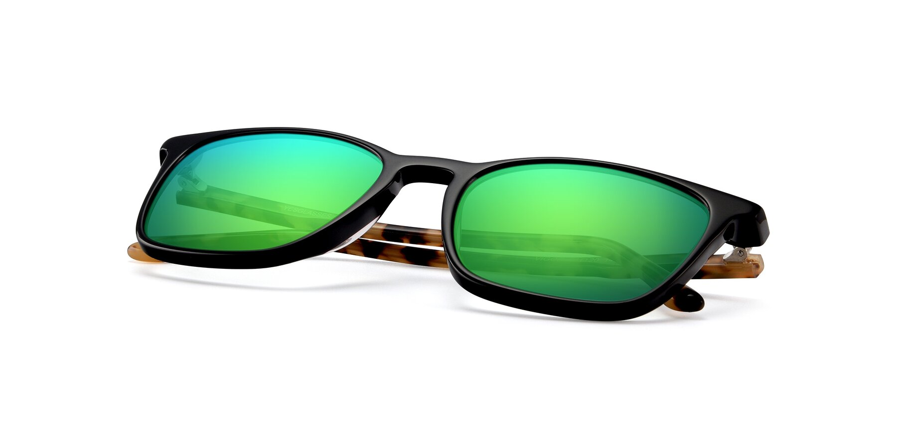 View of Vigor in Black-Tortoise with Green Mirrored Lenses