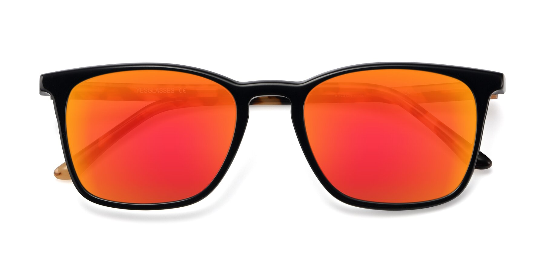 Folded Front of Vigor in Black-Tortoise with Red Gold Mirrored Lenses