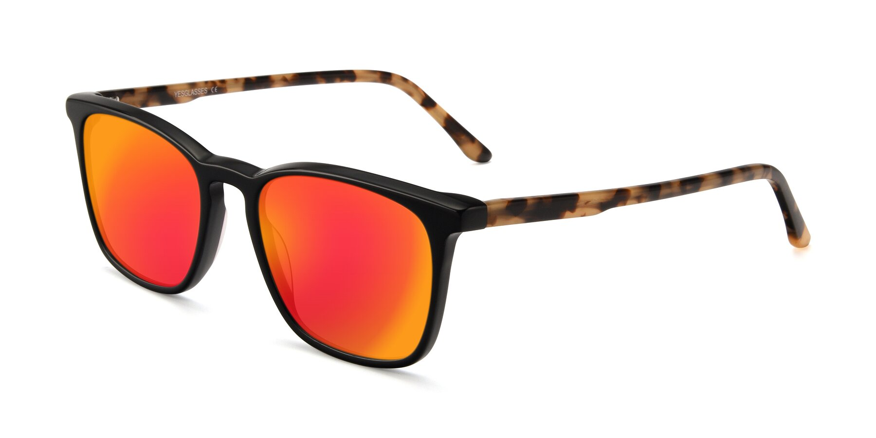 Angle of Vigor in Black-Tortoise with Red Gold Mirrored Lenses