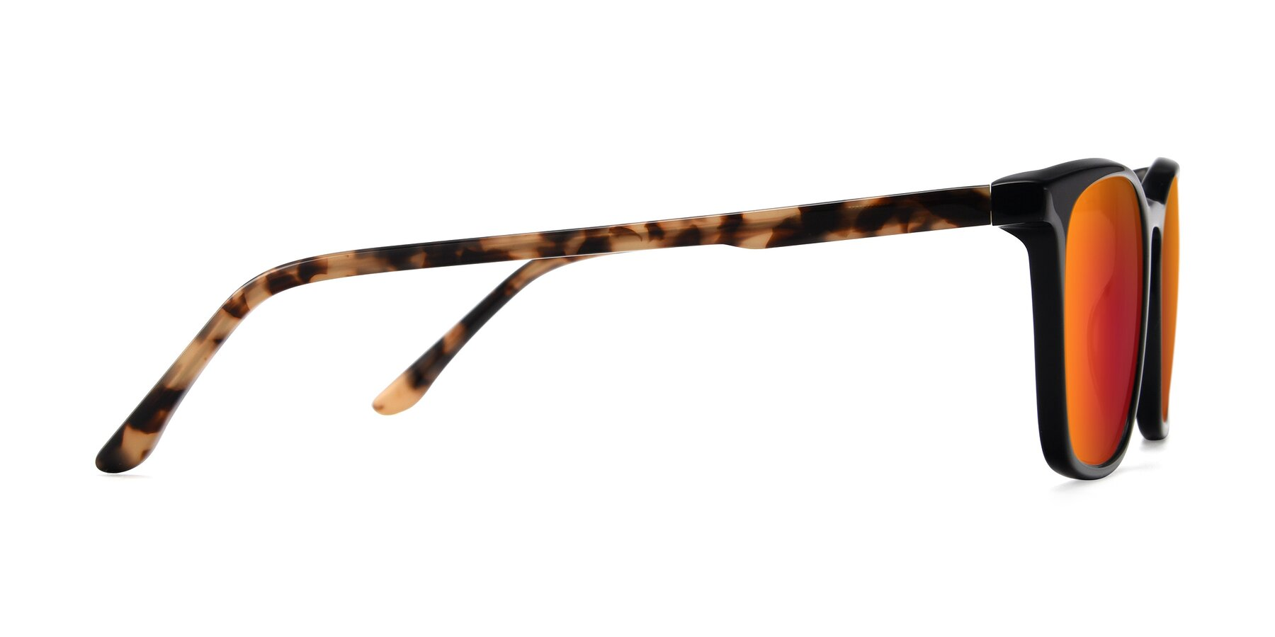 Side of Vigor in Black-Tortoise with Red Gold Mirrored Lenses