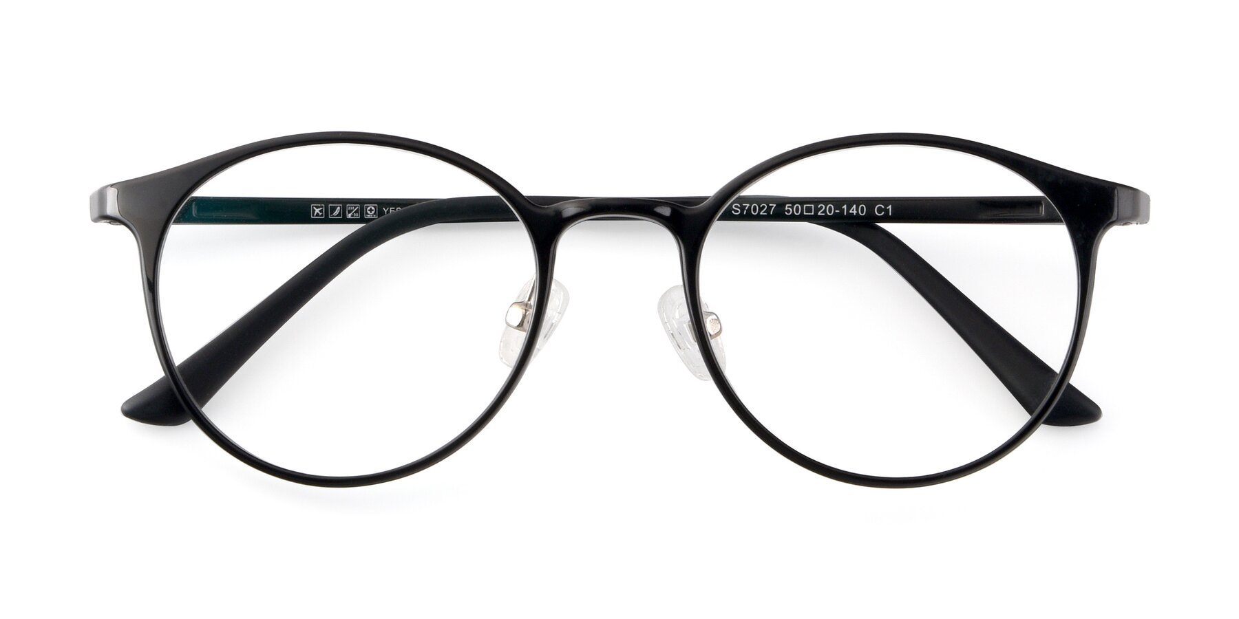 Folded Front of S7027 in Black with Clear Blue Light Blocking Lenses