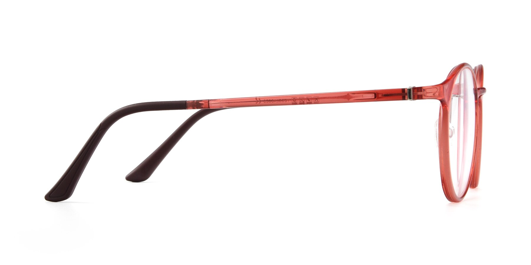 Side of S7027 in Transparent Red with Clear Blue Light Blocking Lenses