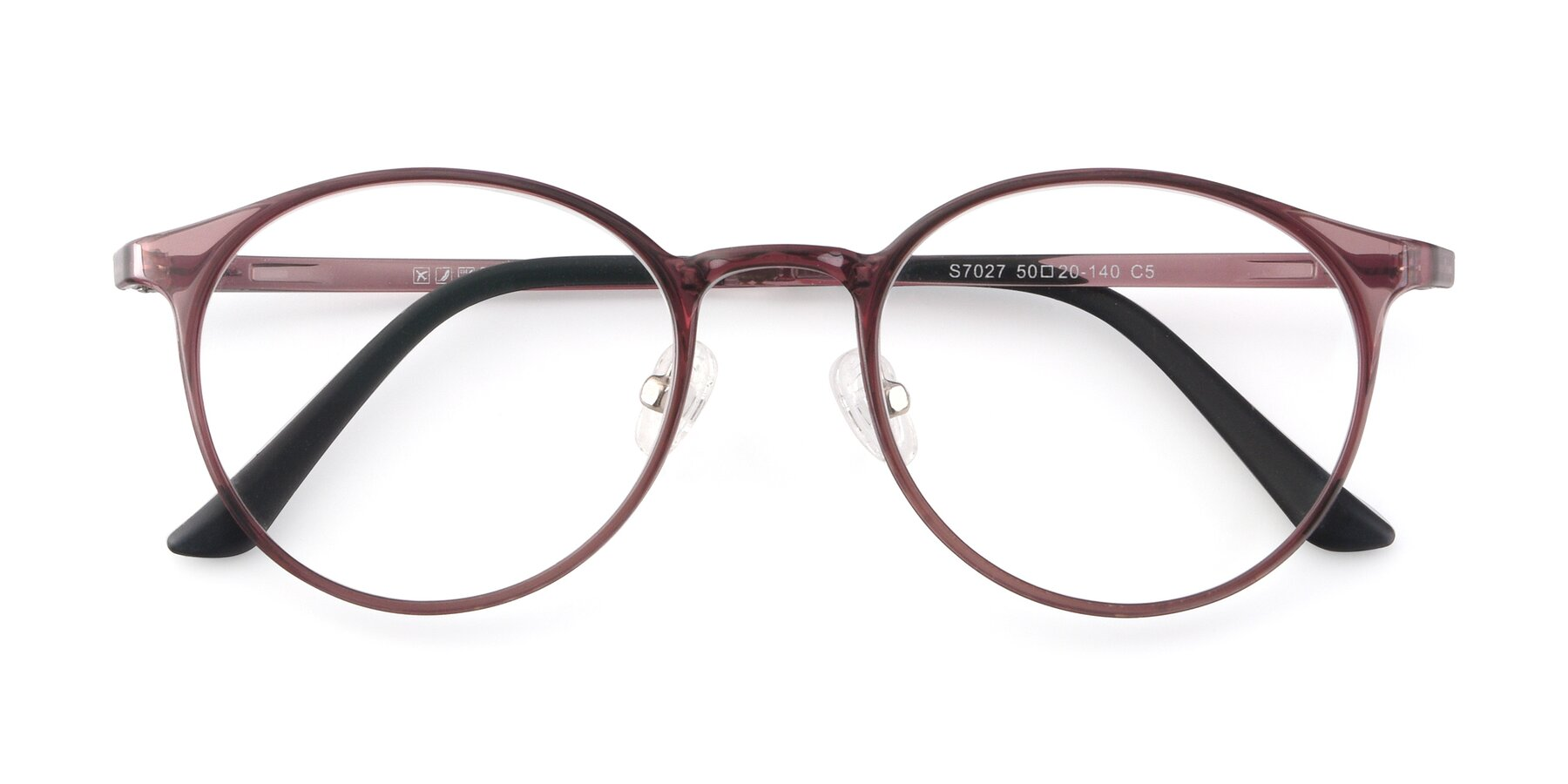 Folded Front of S7027 in Transparent Brown with Clear Blue Light Blocking Lenses