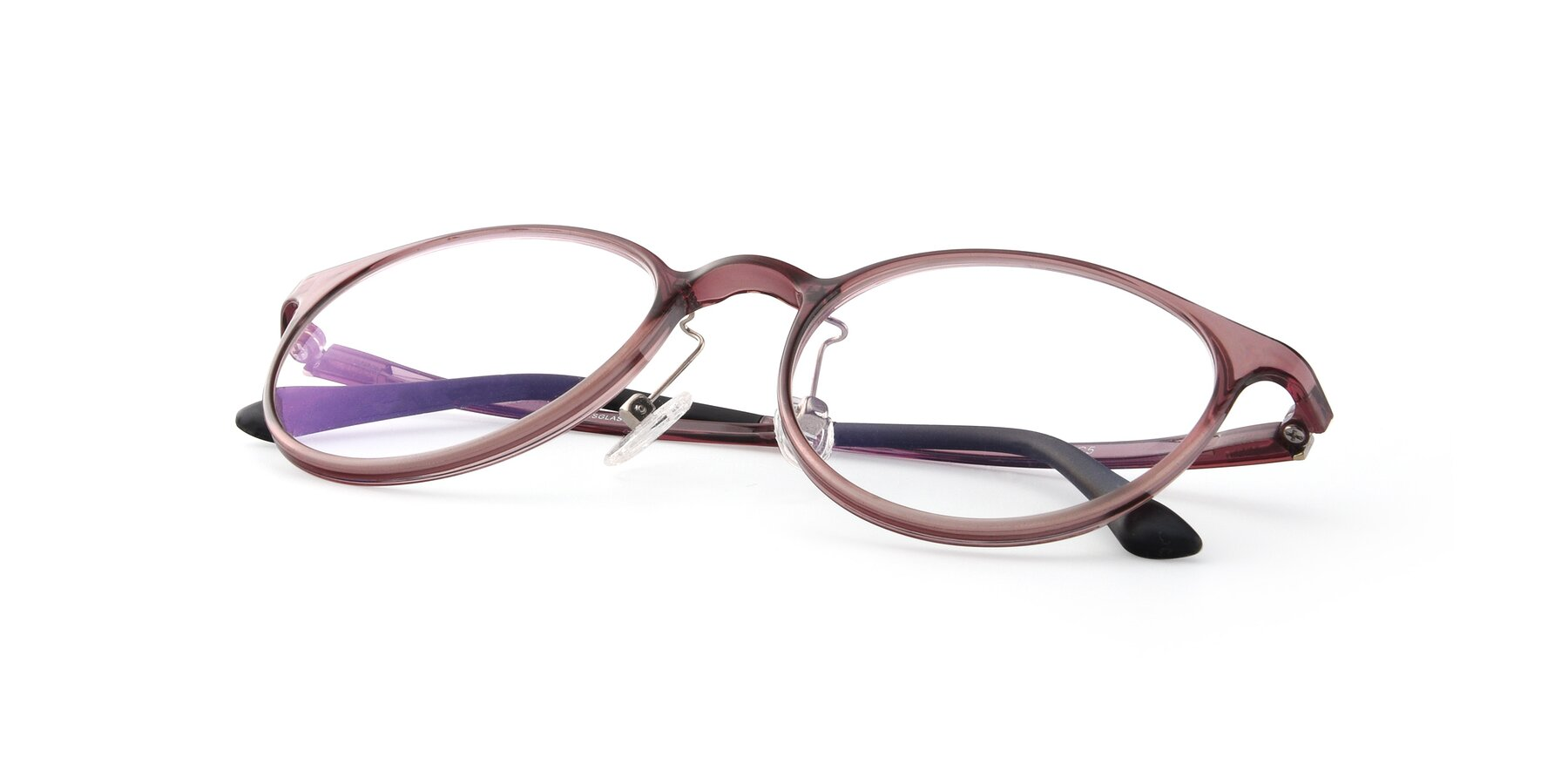 View of S7027 in Transparent Brown with Clear Blue Light Blocking Lenses