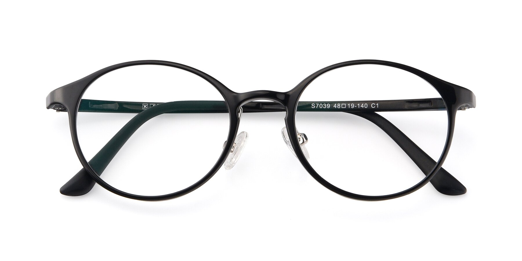 Folded Front of S7039 in Black with Clear Eyeglass Lenses