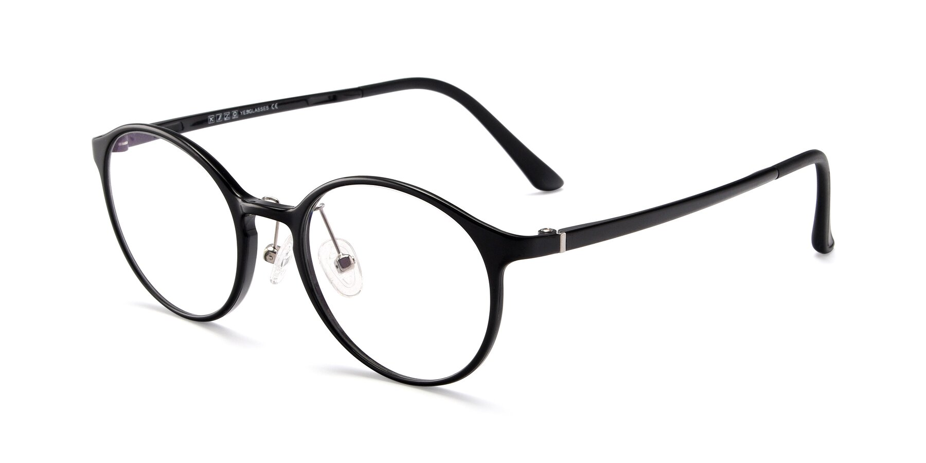 Angle of S7039 in Black with Clear Eyeglass Lenses