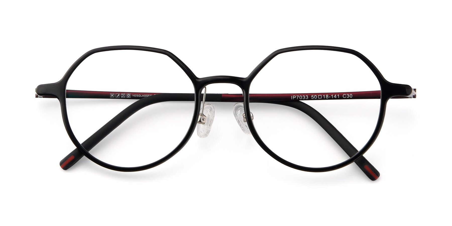 Folded Front of IP7033 in Black with Clear Eyeglass Lenses