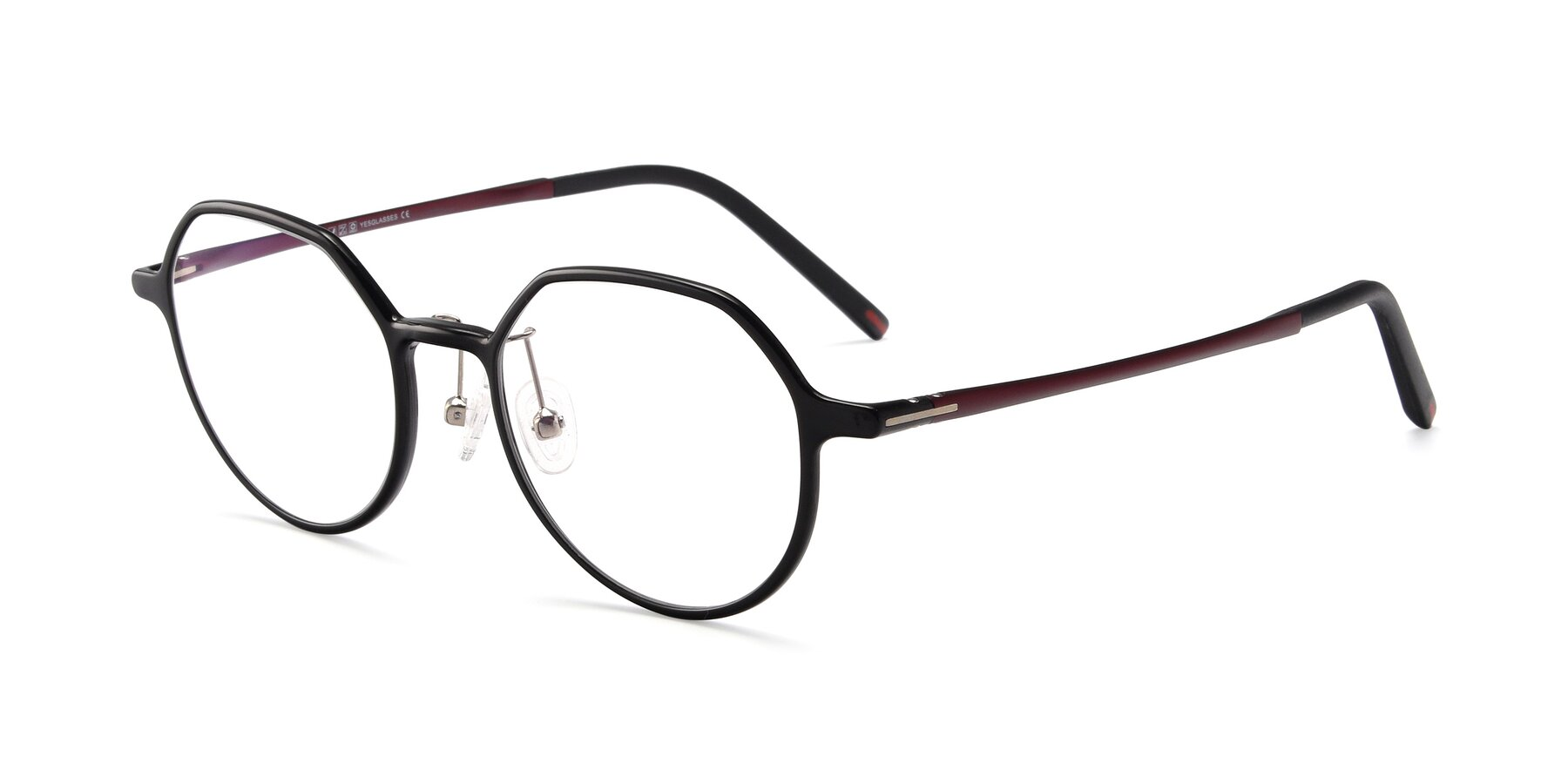 Angle of IP7033 in Black with Clear Eyeglass Lenses