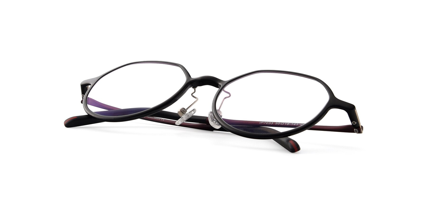 View of IP7033 in Black with Clear Eyeglass Lenses