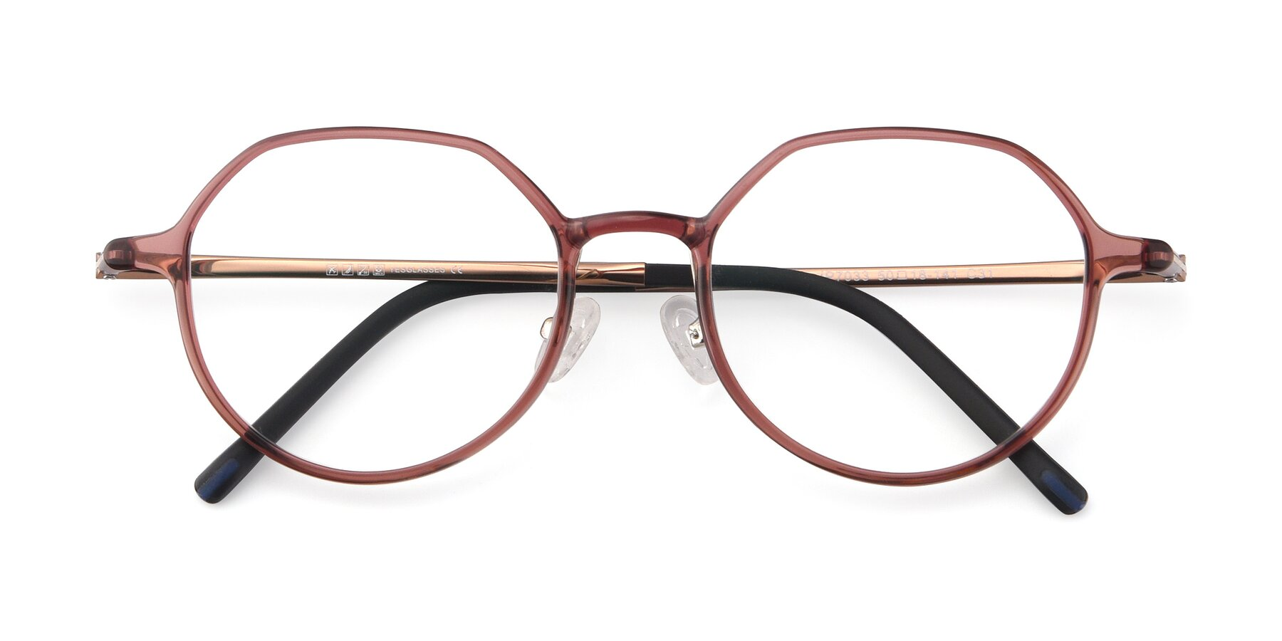 Folded Front of IP7033 in Brown with Clear Eyeglass Lenses