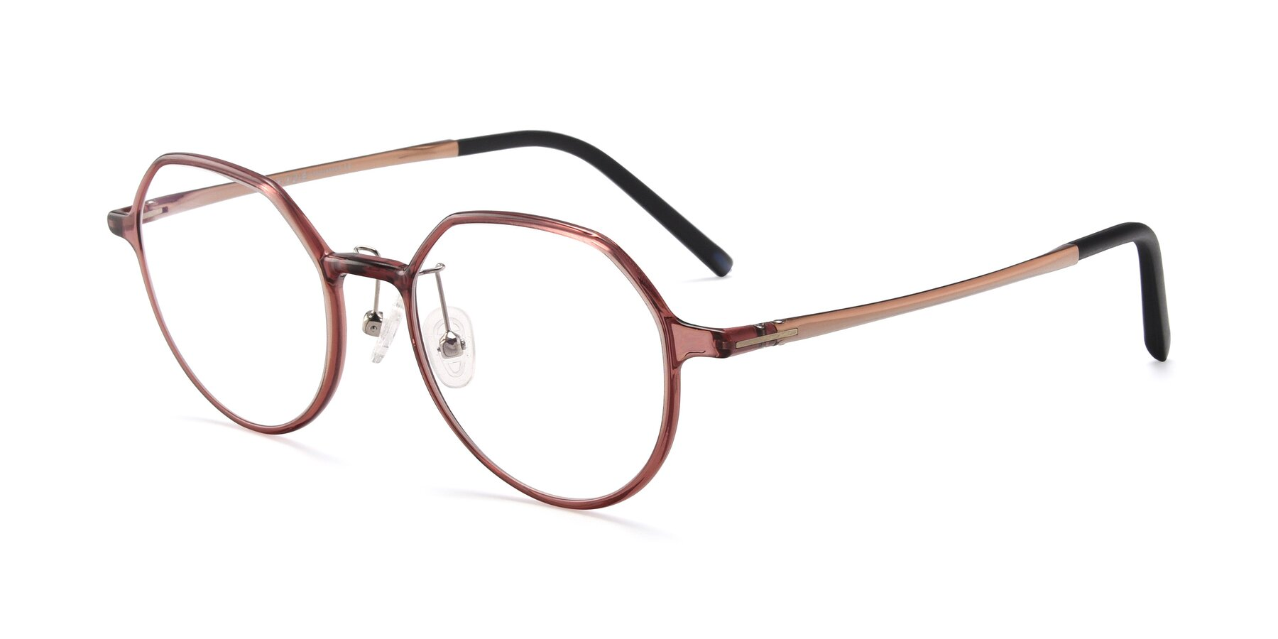 Angle of IP7033 in Brown with Clear Eyeglass Lenses