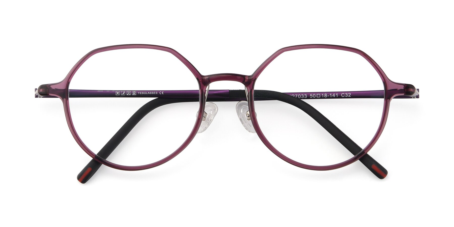 Folded Front of IP7033 in Purple with Clear Blue Light Blocking Lenses