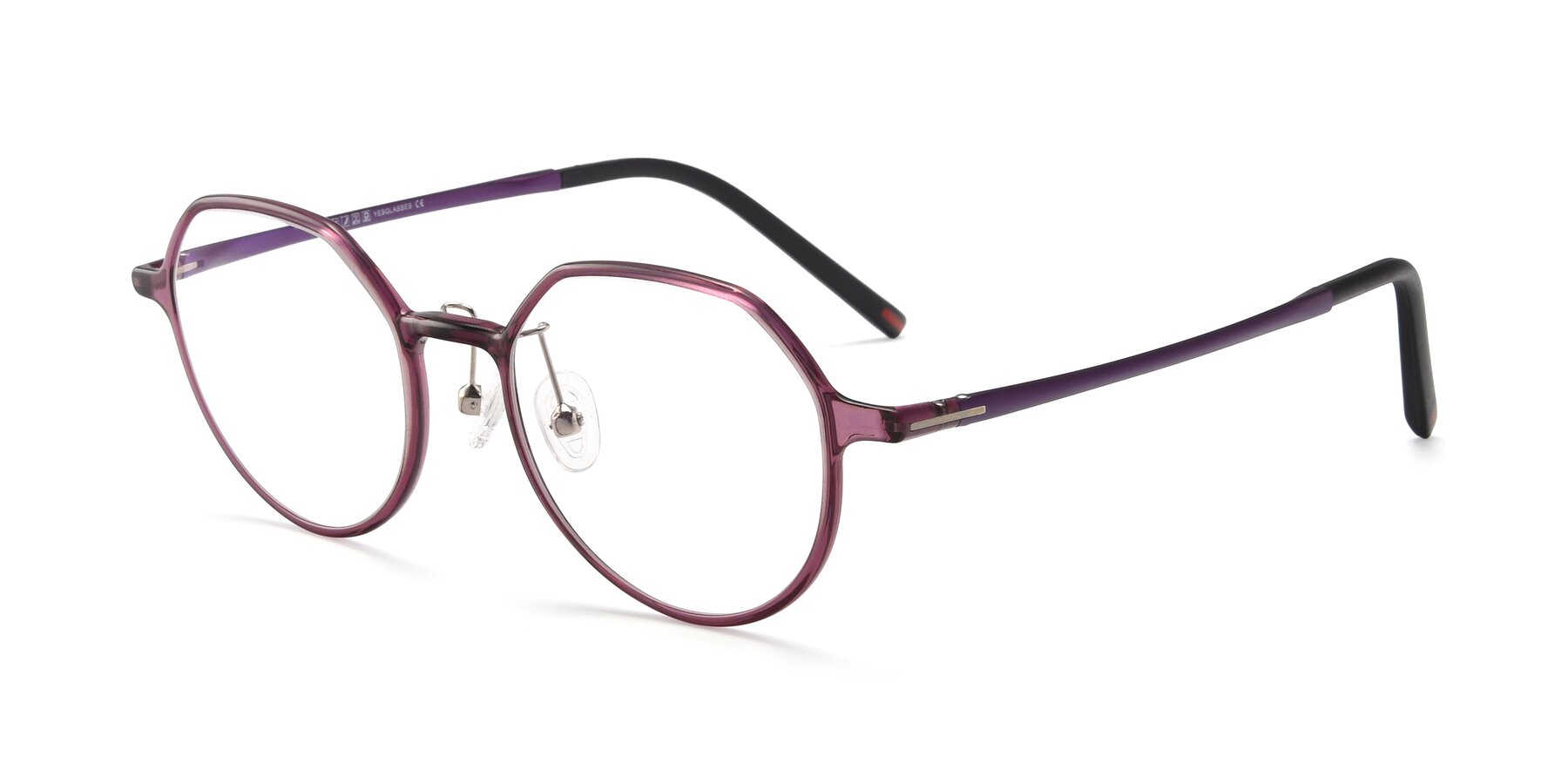 Angle of IP7033 in Purple with Clear Blue Light Blocking Lenses