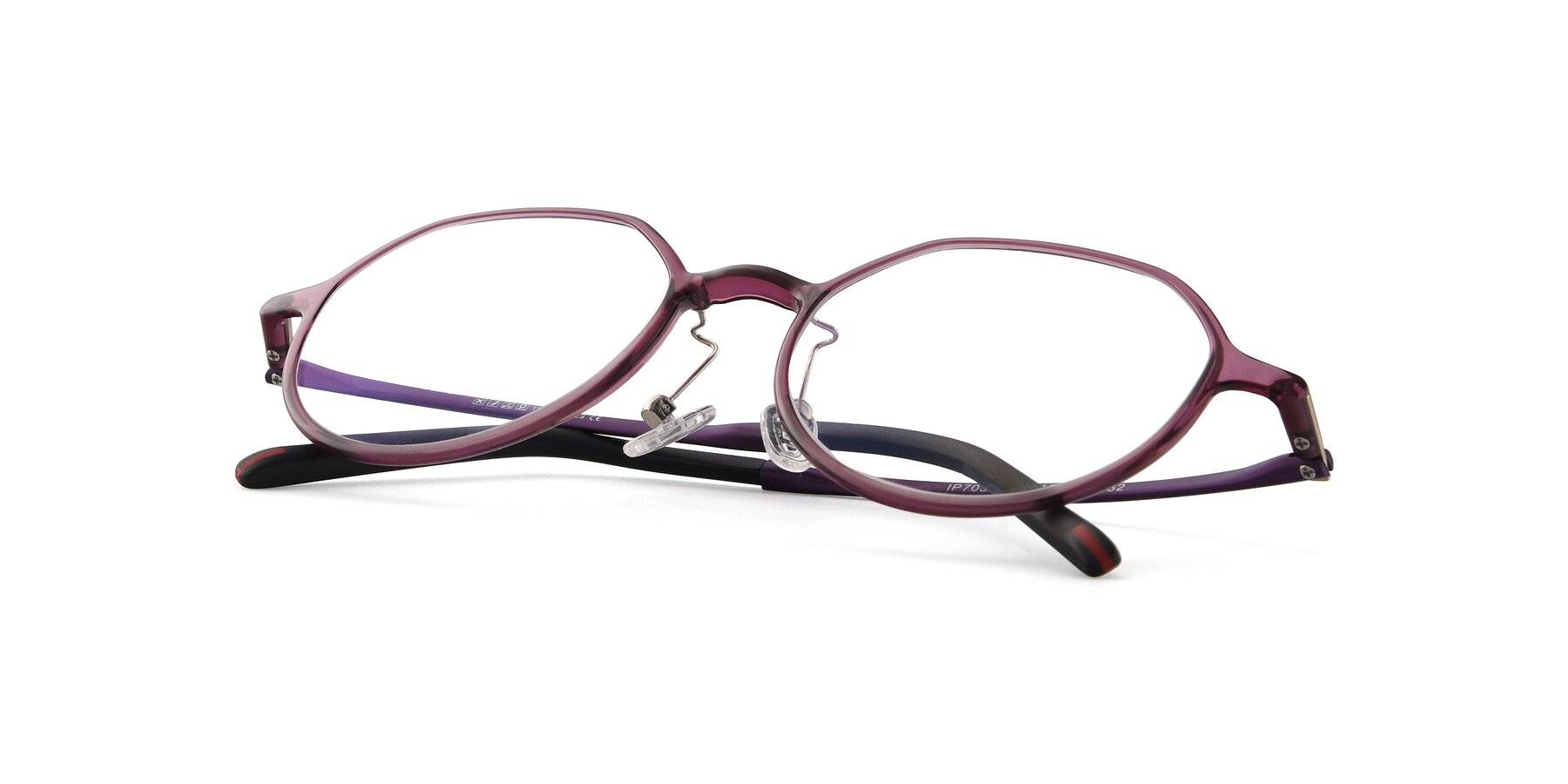 View of IP7033 in Purple with Clear Blue Light Blocking Lenses