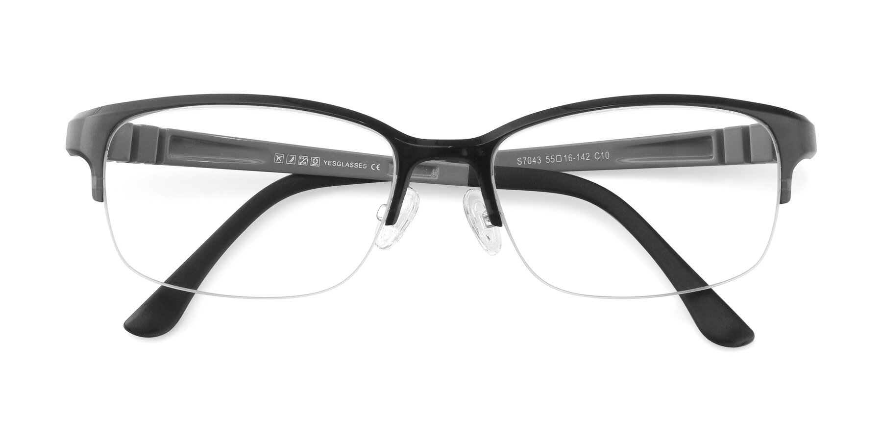 Folded Front of S7043 in Gray with Clear Eyeglass Lenses