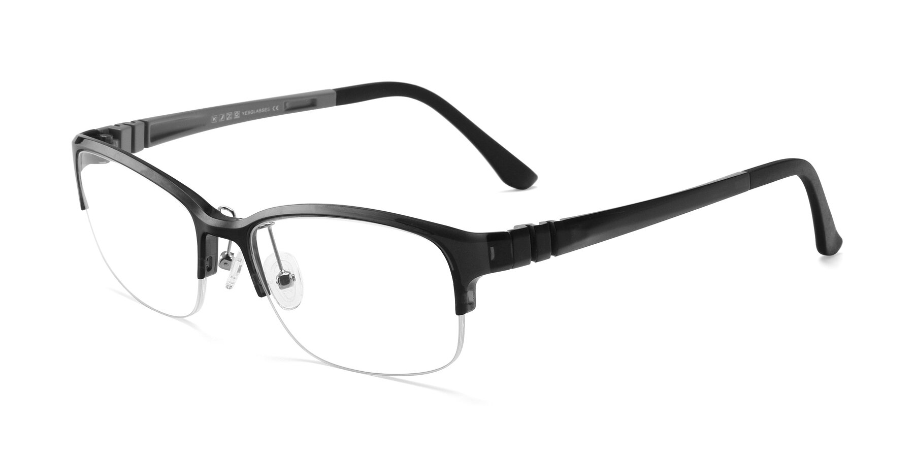 Angle of S7043 in Gray with Clear Eyeglass Lenses