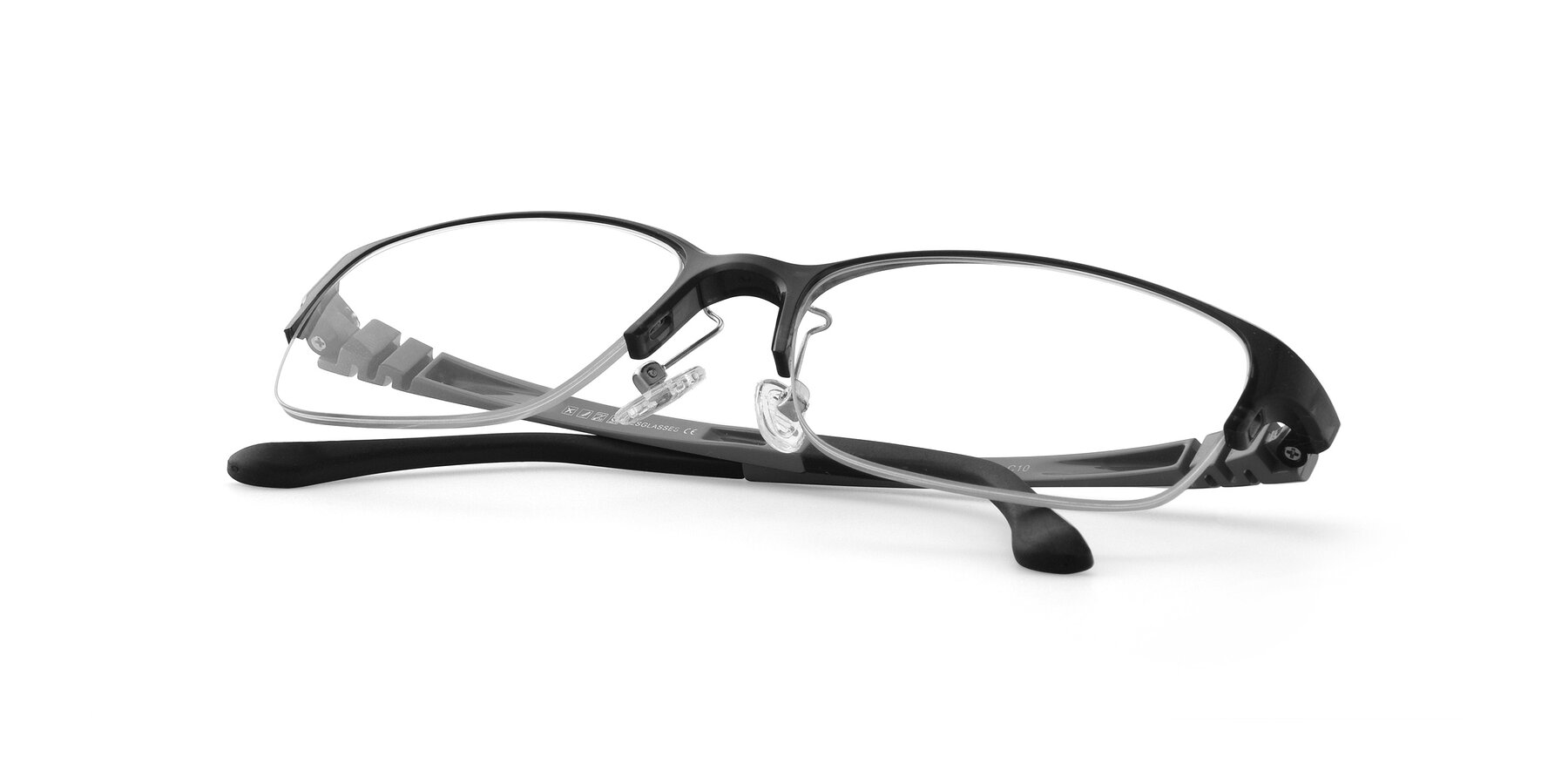 View of S7043 in Gray with Clear Eyeglass Lenses