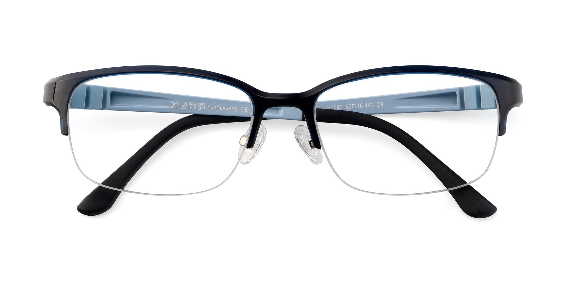 Folded Front of S7043 in Black-Blue with Clear Eyeglass Lenses