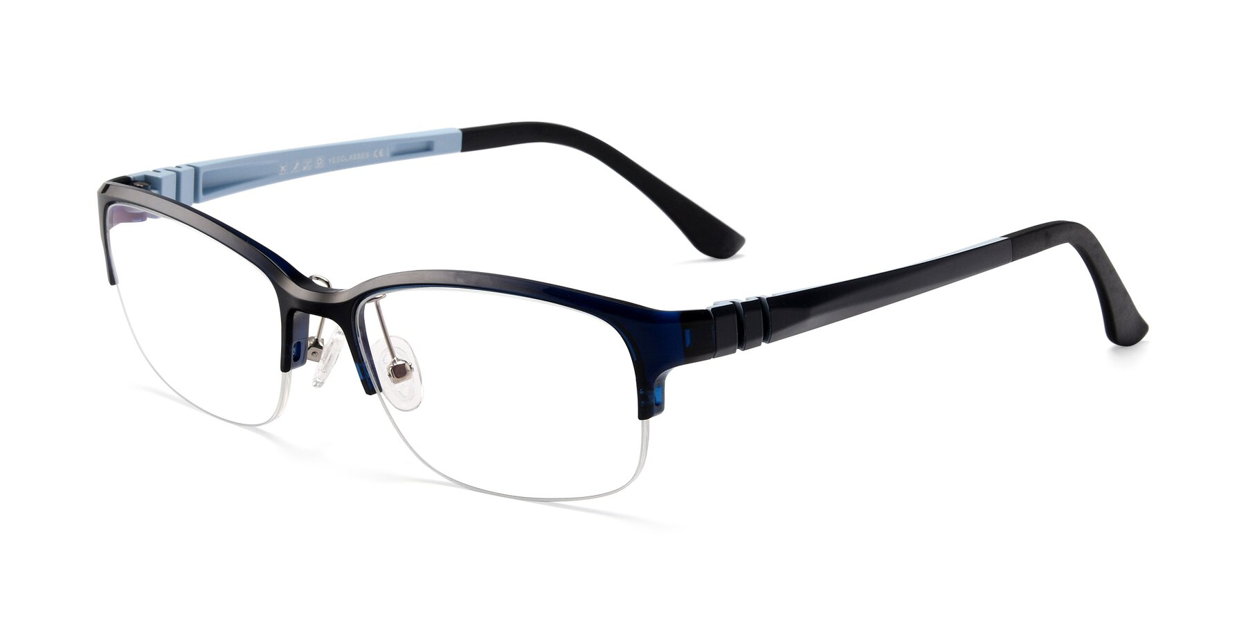 Angle of S7043 in Black-Blue with Clear Eyeglass Lenses