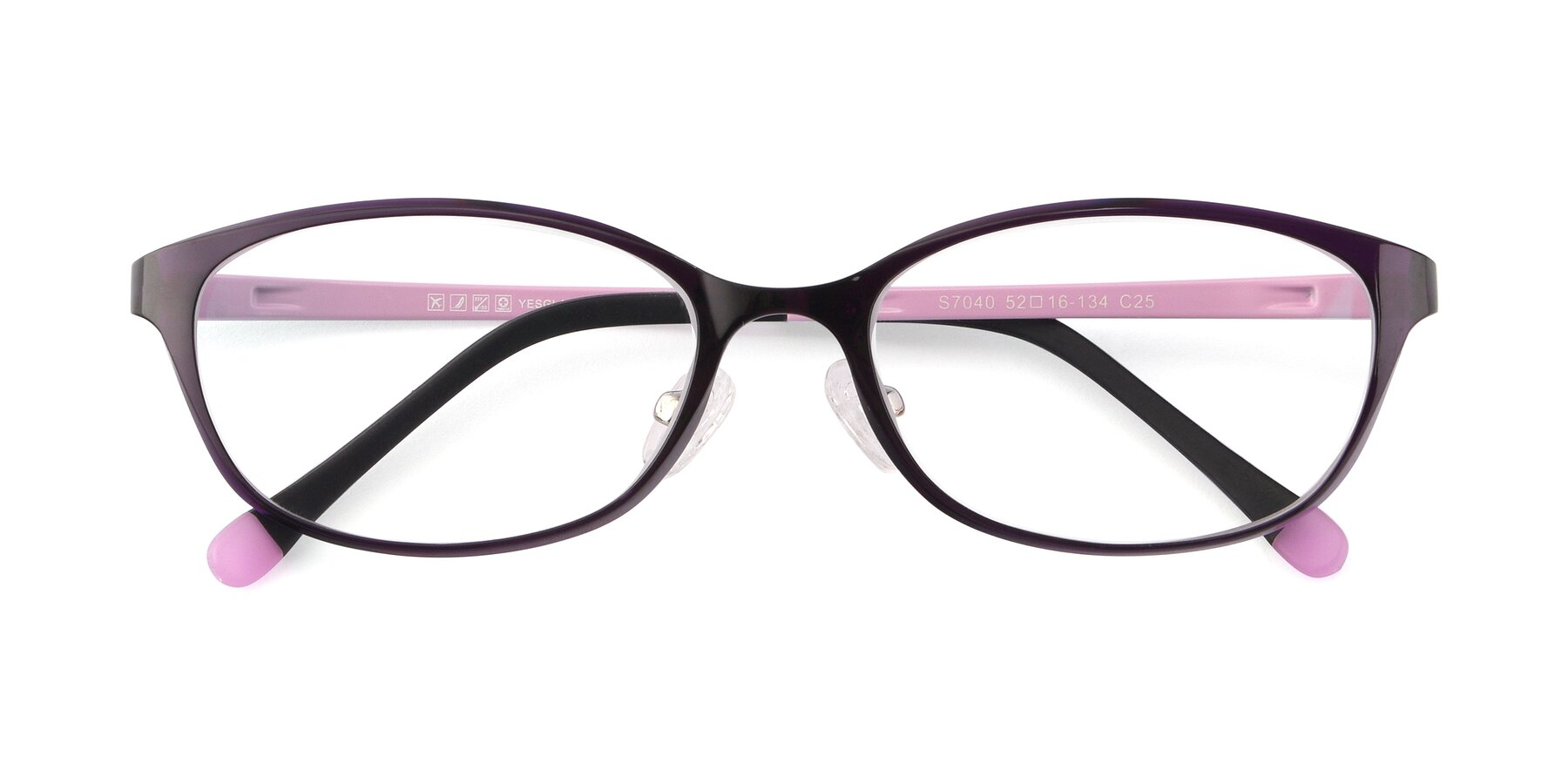 Folded Front of S7040 in Brown-Pink with Clear Blue Light Blocking Lenses
