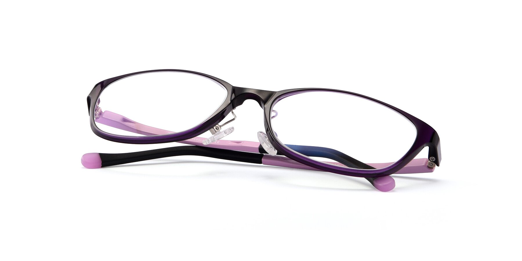 View of S7040 in Brown-Pink with Clear Blue Light Blocking Lenses
