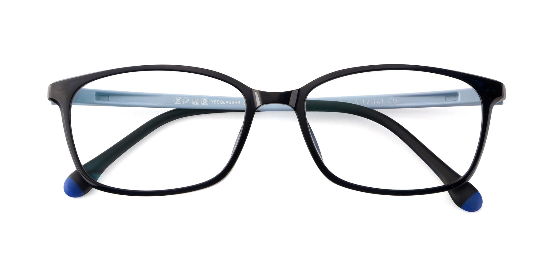Folded Front of S7036 in Black-Blue with Clear Eyeglass Lenses