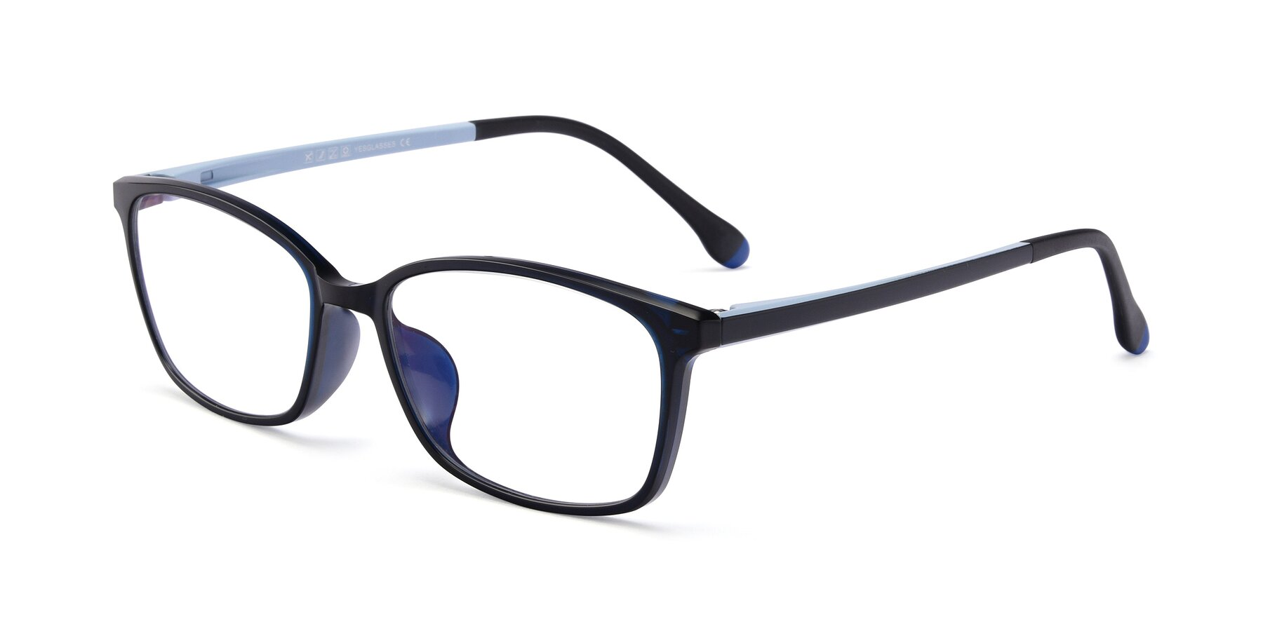 Angle of S7036 in Black-Blue with Clear Eyeglass Lenses
