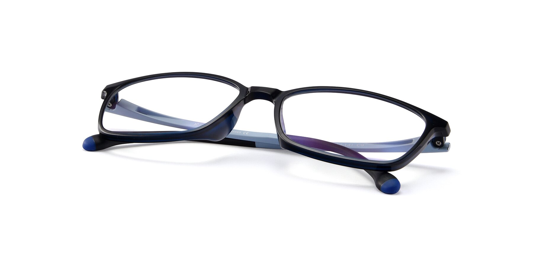 View of S7036 in Black-Blue with Clear Eyeglass Lenses