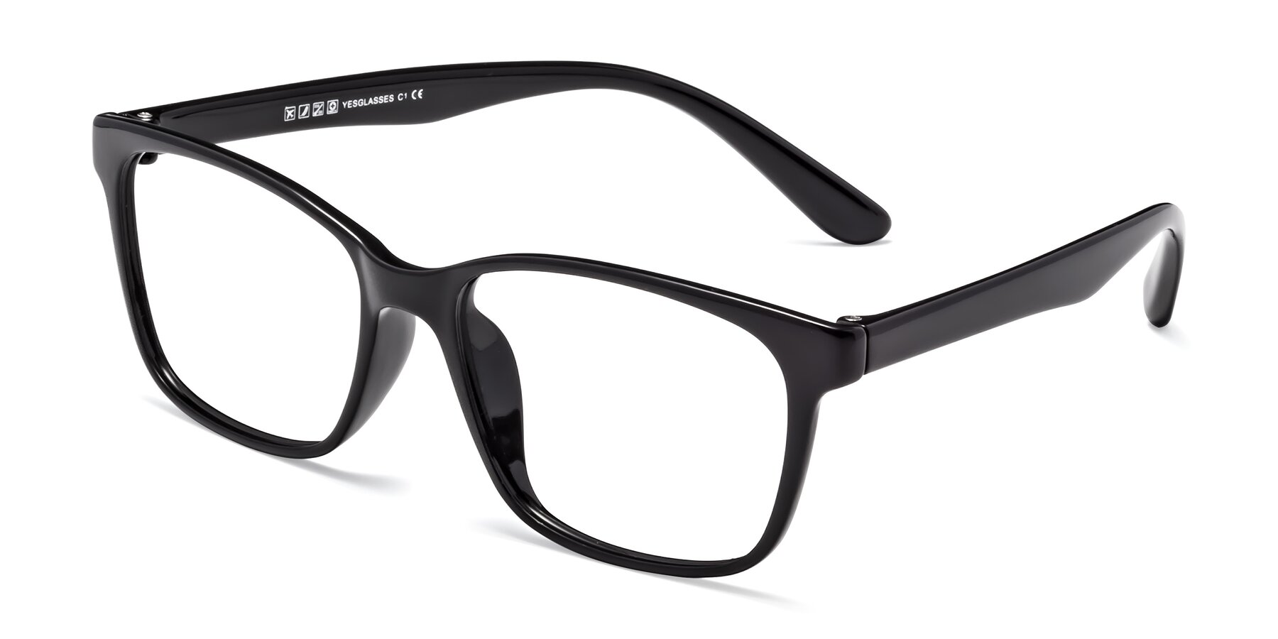 Angle of 8206 in Black with Clear Eyeglass Lenses