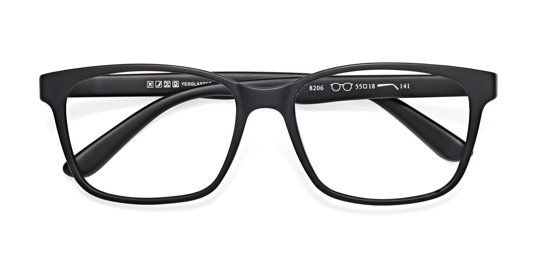 Folded Front of 8206 in Matte Black with Clear Eyeglass Lenses