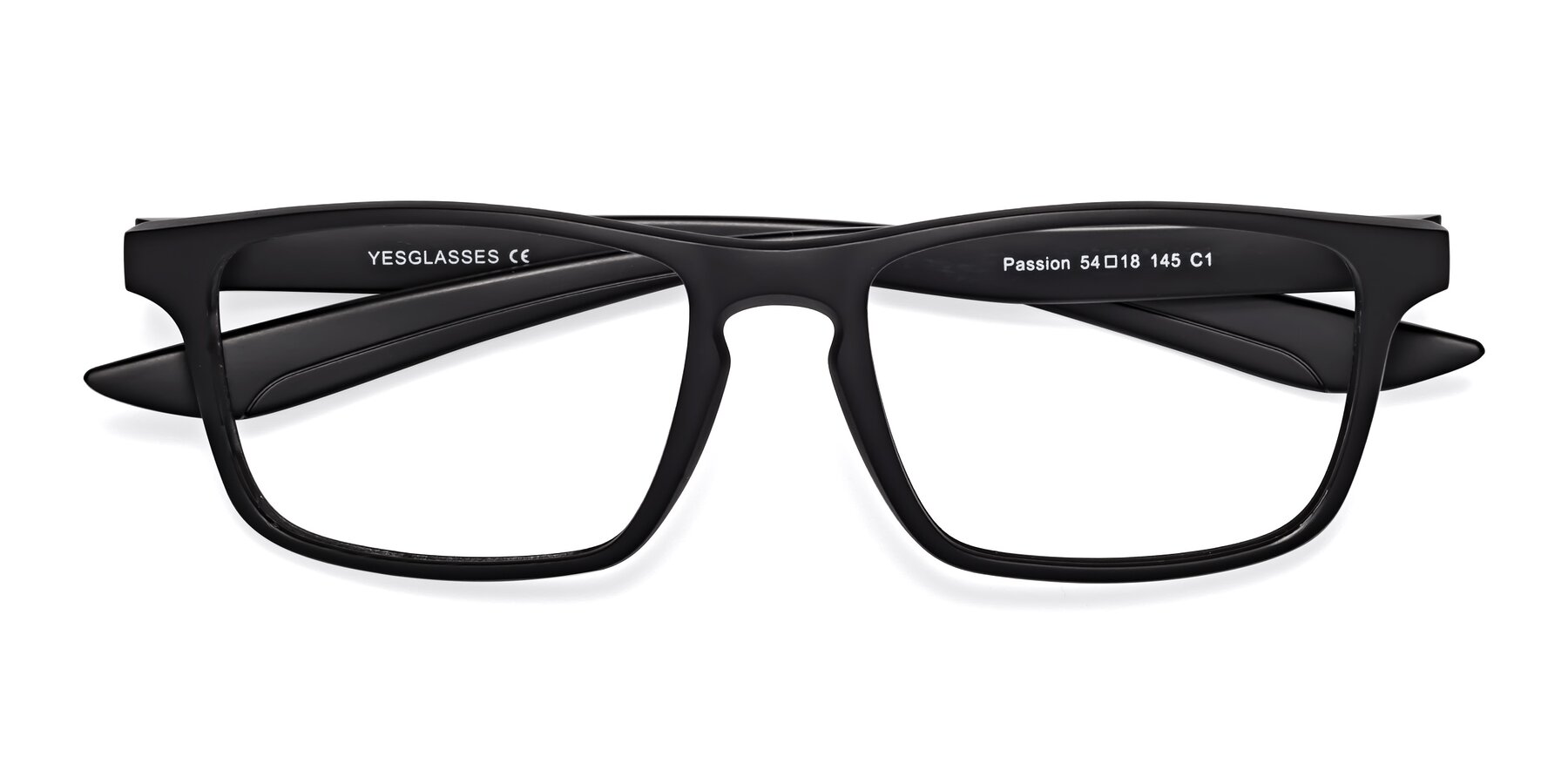 Folded Front of Passion in Matte Black with Clear Eyeglass Lenses