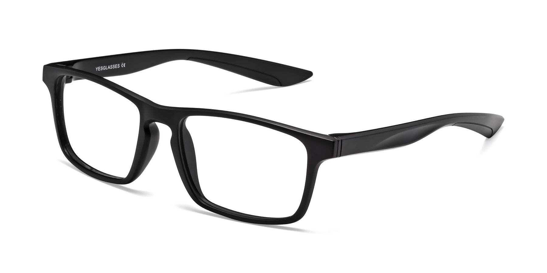 Angle of Passion in Matte Black with Clear Eyeglass Lenses